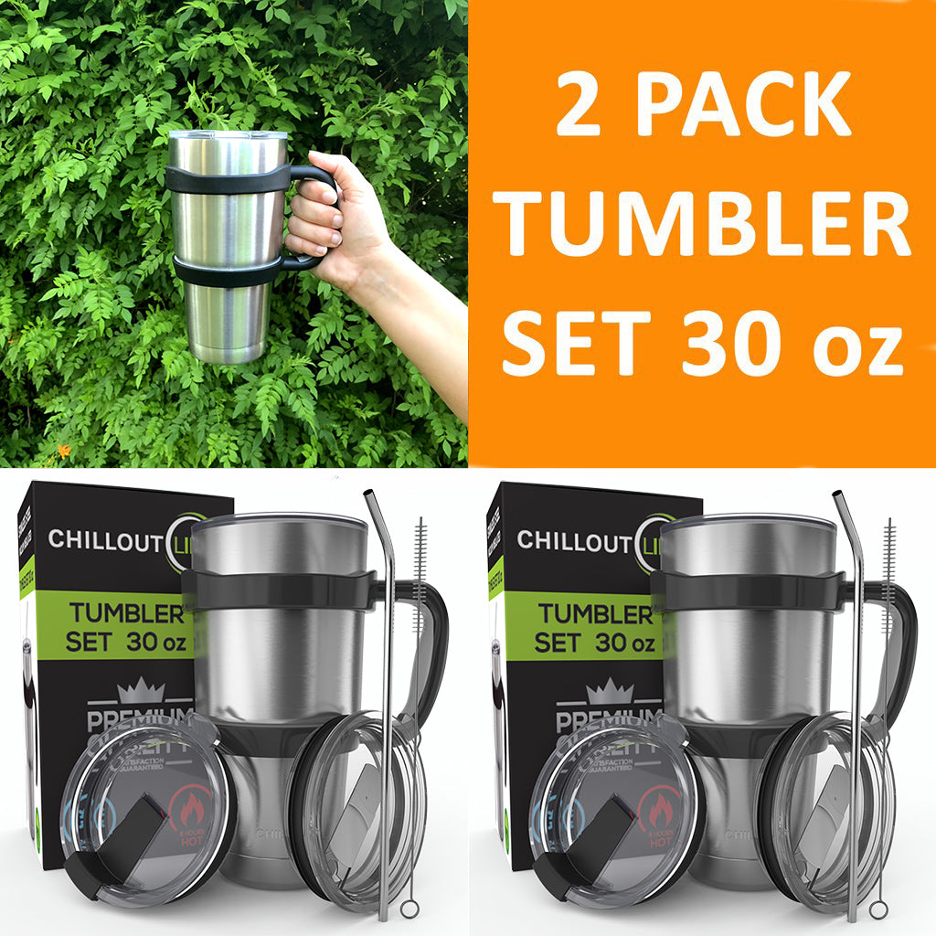 2 Stainless Steel Tumbler Set 30 oz with Sliding Lid – 6 Piece each Set - CHILLOUT LIFE