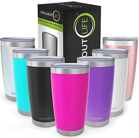 Stainless Steel Tumbler 20 oz with Sliding Lid - Powder Coated Tumbler, Hot Pink - CHILLOUT LIFE