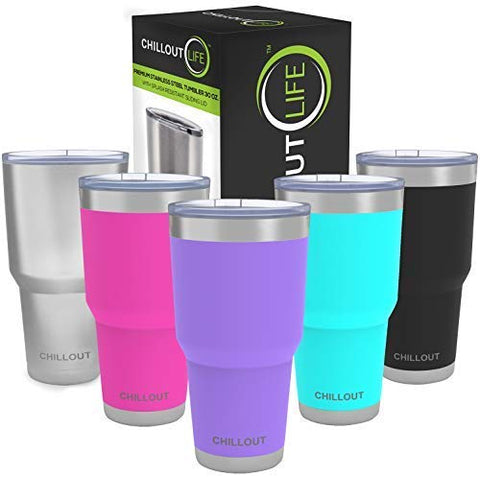 Stainless Steel Tumbler 30 oz with Sliding Lid - Powder Coated Tumbler, Purple - CHILLOUT LIFE