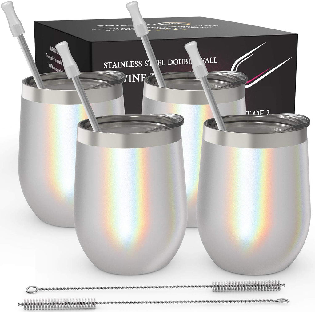 CHILLOUT LIFE 12 oz Stainless Steel Stemless Wine Tumbler with Lids and Straw 4 Pack - Sparkle Holographic - CHILLOUT LIFE