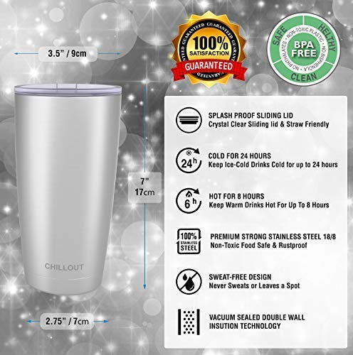 CHILLOUT LIFE 20 oz Stainless Steel Tumbler with Lid & Gift Box - CHILLOUT LIFE