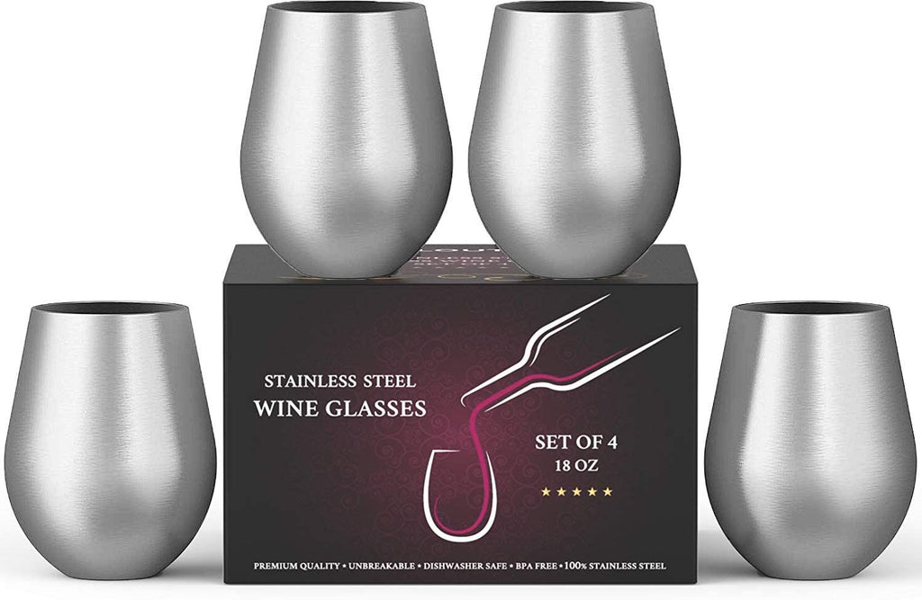Stainless Steel Wine Glasses Set of 4, 18 oz - Stemless metal wine glasses 4 pack - Unbreakable, Dishwasher Safe, BPA Free, Great for Indoor & Outdoor Use - Steel Wine Cups - Perfect Gift - CHILLOUT LIFE
