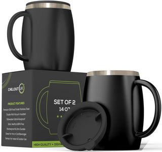 Stainless Steel Insulated Coffee Mugs Set of 2 (14oz) – Black - CHILLOUT LIFE