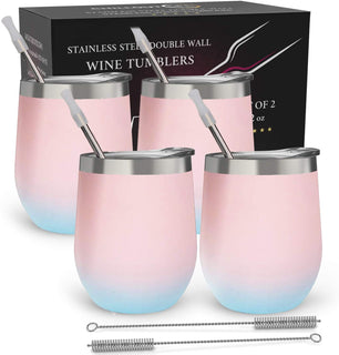 CHILLOUT LIFE 12 oz Stainless Steel Stemless Wine Tumbler with Lids and Straw 4 Pack - Cotton Candy - CHILLOUT LIFE