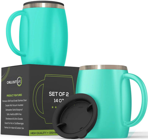 Stainless Steel Insulated Coffee Mugs Set of 2 (14oz) – Aqua Blue - CHILLOUT LIFE