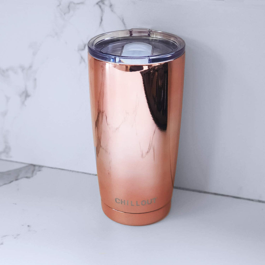 CHILLOUT LIFE 20 oz Stainless Steel Tumbler with Lid & Gift Box - Copper Mirror Tumbler - CHILLOUT LIFE