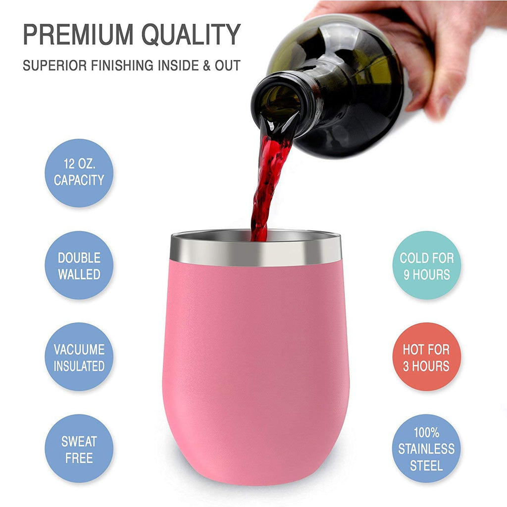 CHILLOUT LIFE 12 oz Stainless Steel Wine Tumbler 2 Pack for Coffee, Wine, Cocktails, Ice Cream, Light Pink Wine Tumblers - CHILLOUT LIFE
