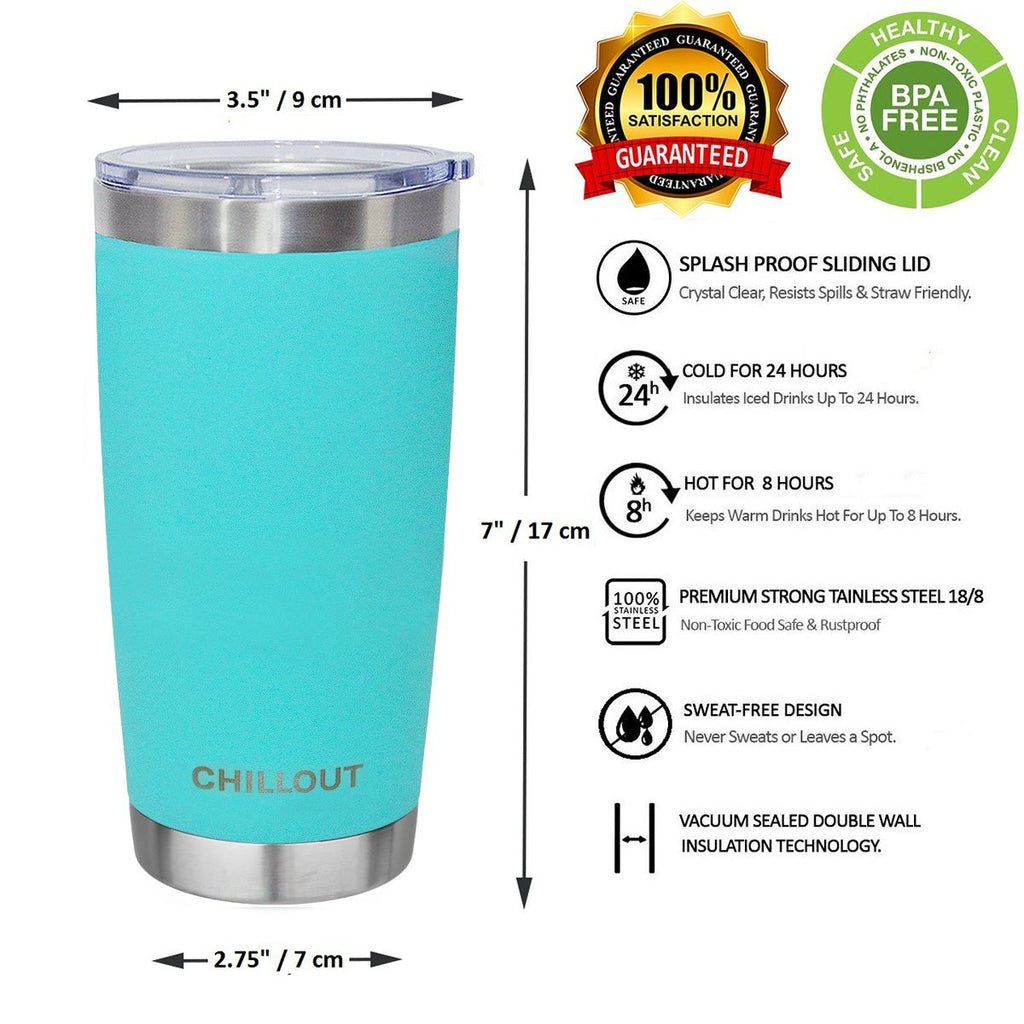 Stainless Steel Tumbler 20 oz with Sliding Lid - Powder Coated Tumbler, Aqua Blue - CHILLOUT LIFE