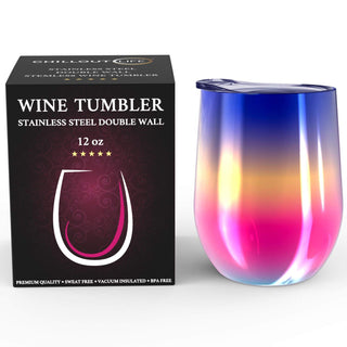 CHILLOUT LIFE 12 oz Stainless Steel Wine Tumbler for Coffee, Wine, Cocktails, Ice Cream, Rainbow Multi-Color Wine Tumbler