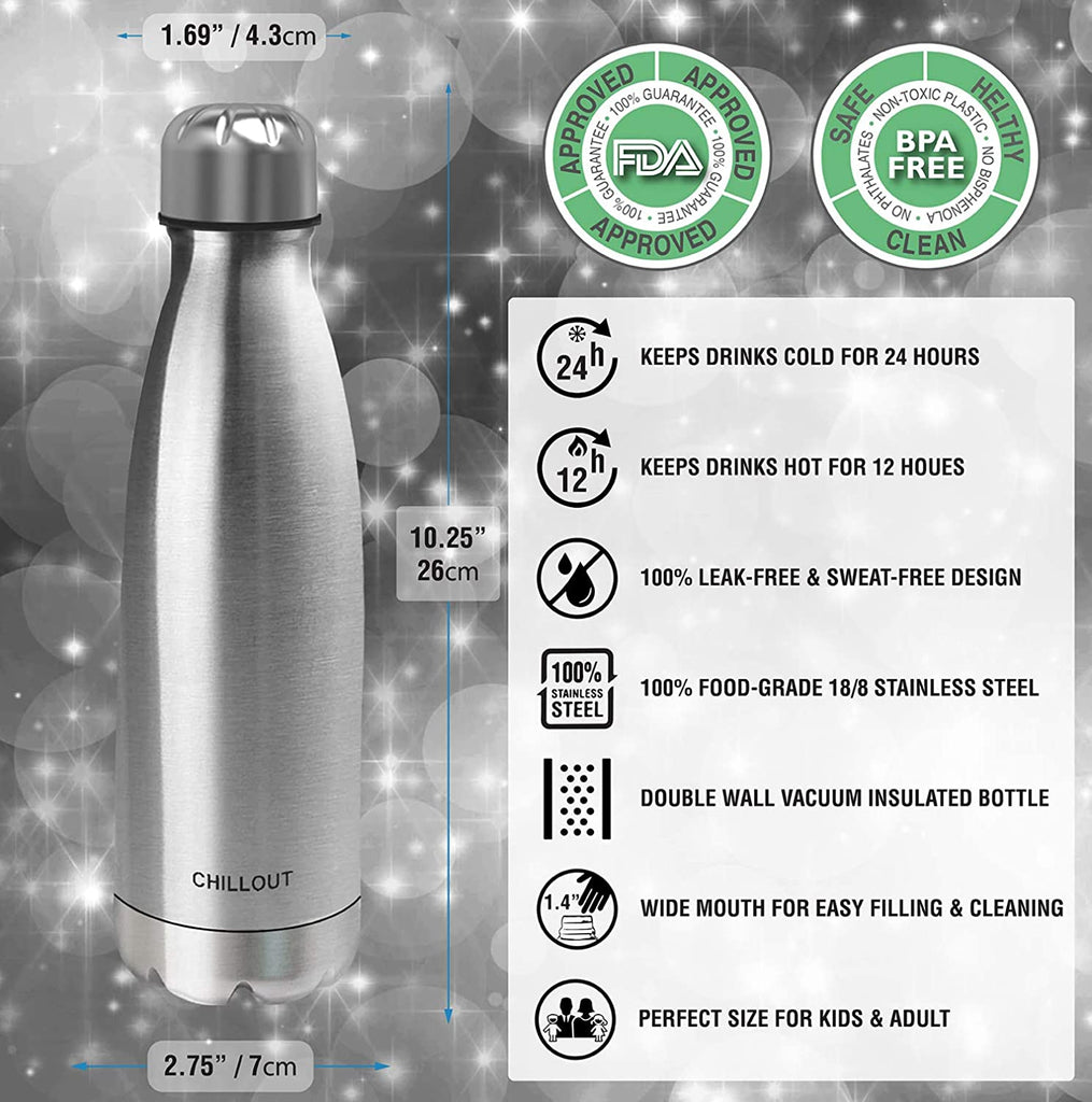 CHILLOUT LIFE Stainless Steel Water Bottle for Kids School and Adults: 17oz Double Wall Insulated Cola Bottle Shape - Stainless Steel - CHILLOUT LIFE