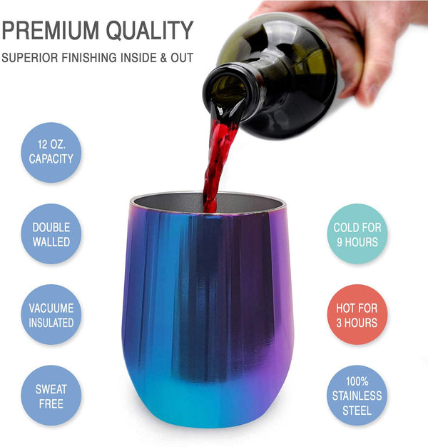 CHILLOUT LIFE 12 oz Stainless Steel Wine Tumbler for Coffee, Wine, Cocktails, Ice Cream, Magic Blue Wine Tumbler - CHILLOUT LIFE