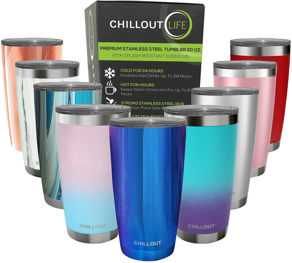 CHILLOUT LIFE 20 oz Stainless Steel Tumbler with Lid & Gift Box - Magic Blue Tumbler - CHILLOUT LIFE
