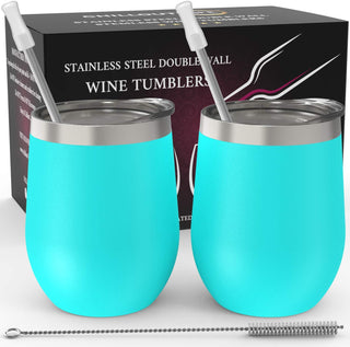 CHILLOUT LIFE 12 oz Stainless Steel Wine Tumbler 2 Pack for Coffee, Wine, Cocktails, Ice Cream, Teal Wine Tumblers - CHILLOUT LIFE