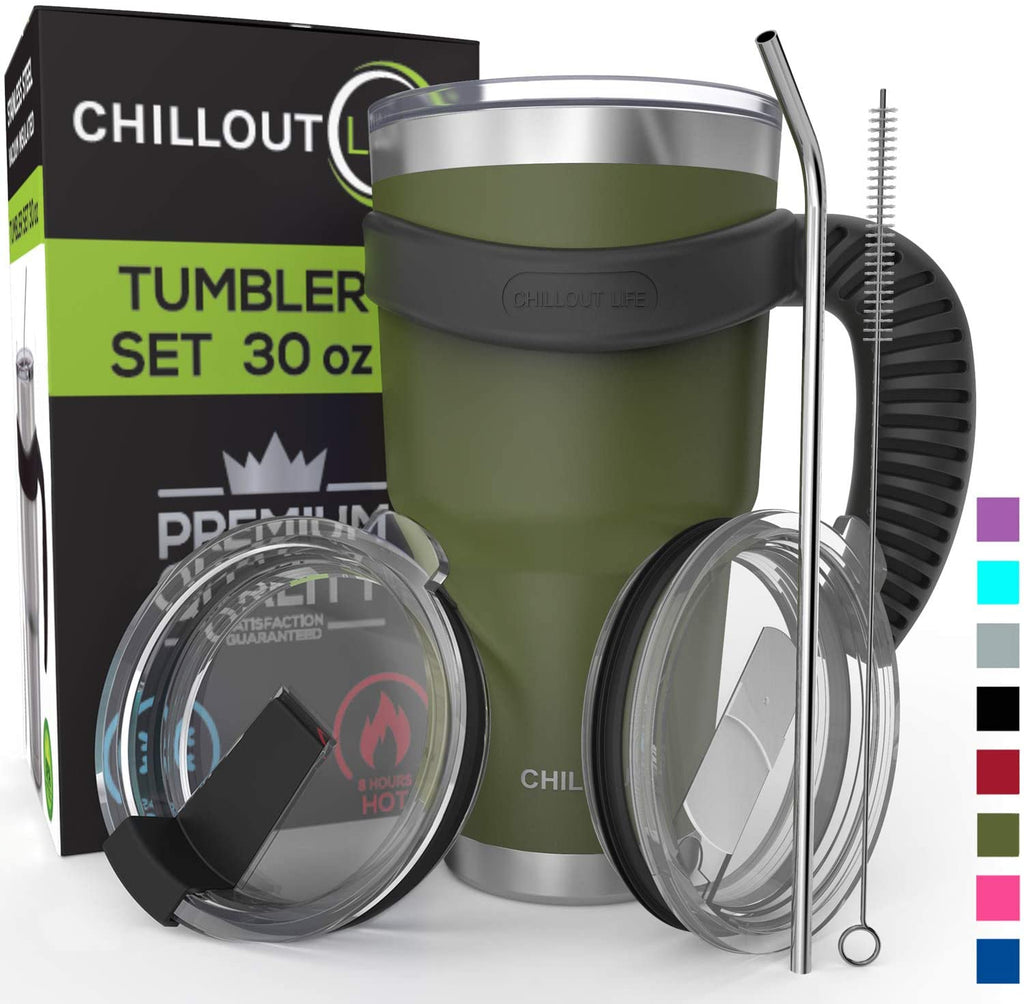 Stainless Steel Travel Mug with Handle 30oz – 6 Piece Set. Tumbler with Handle, Straw, Cleaning Brush & 2 Lids - Army Green Tumbler - CHILLOUT LIFE
