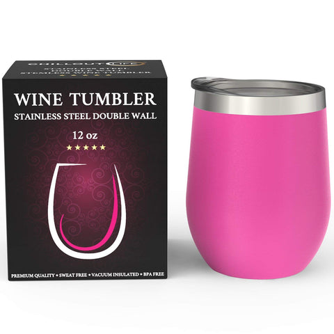 CHILLOUT LIFE 12 oz Stainless Steel Wine Tumbler for Coffee, Wine, Cocktails, Ice Cream, Hot Pink Wine Tumbler - CHILLOUT LIFE
