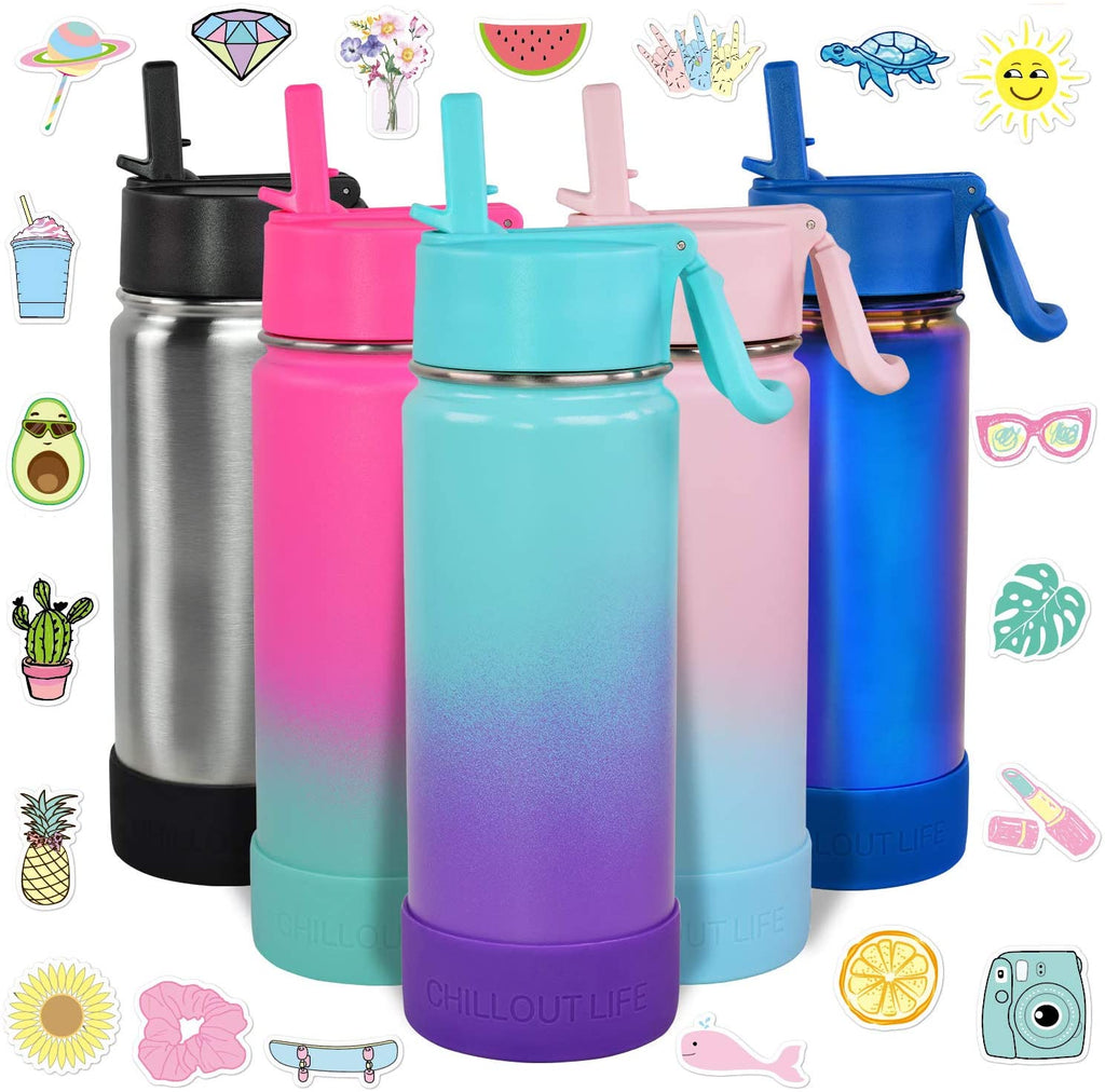 CHILLOUT LIFE 17 oz Insulated Water Bottle with Straw Lid for Kids + 20 Cute Waterproof Stickers - Caribbean Lily - CHILLOUT LIFE