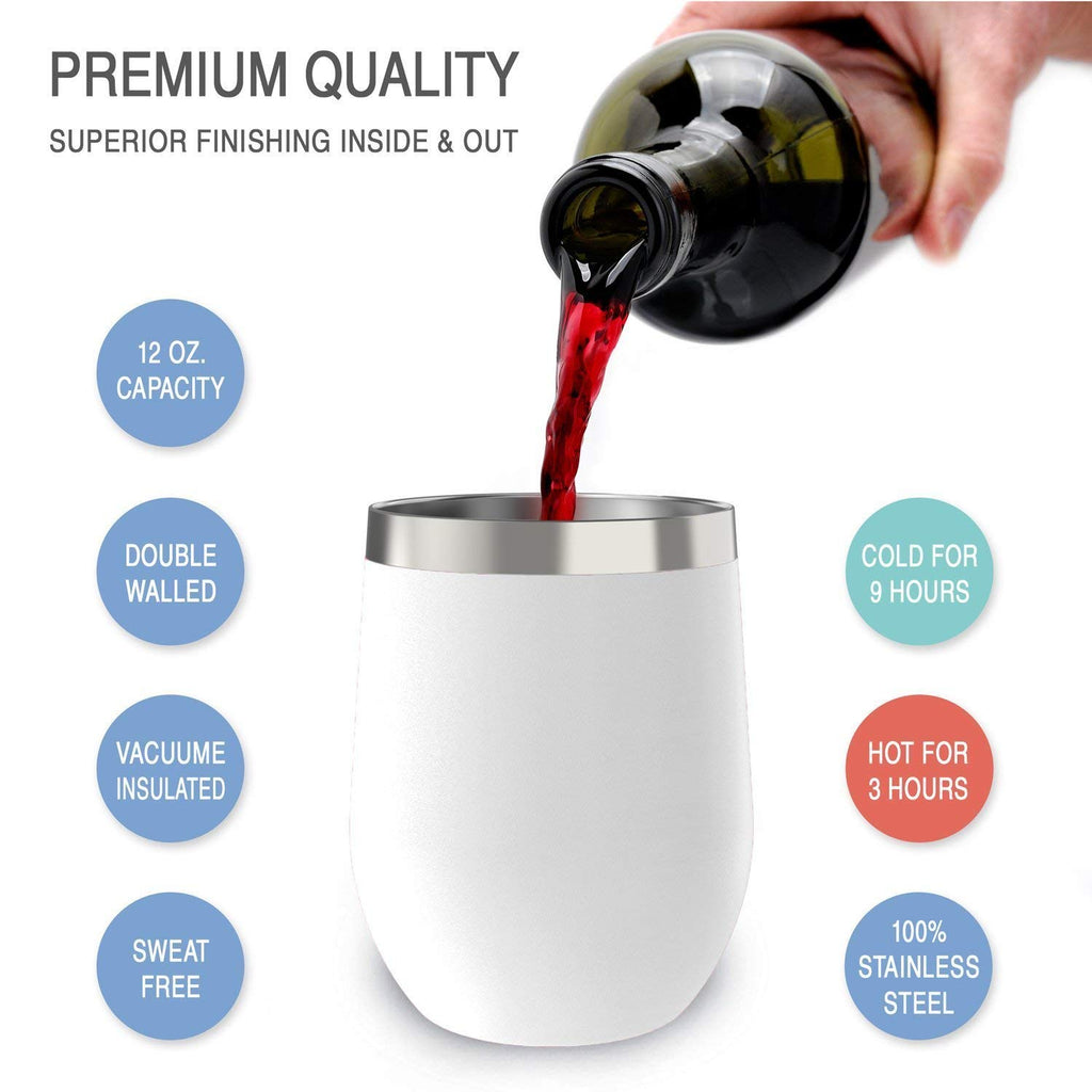 CHILLOUT LIFE 12 oz Stainless Steel Wine Tumbler for Coffee, Wine, Cocktails, Ice Cream, White Wine Tumbler