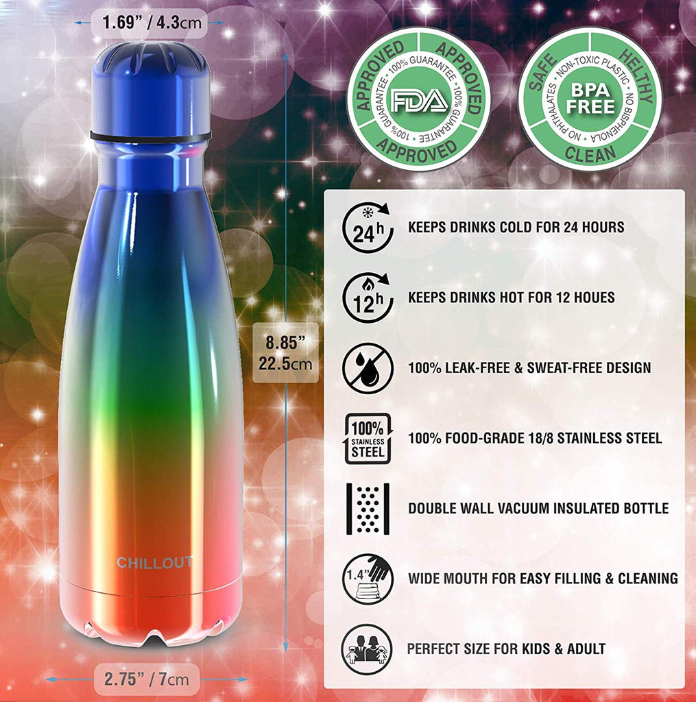 CHILLOUT LIFE Stainless Steel Water Bottle for Kids School: 12 oz Double Wall Insulated Cola Bottle Shape - UV Rainbow - CHILLOUT LIFE