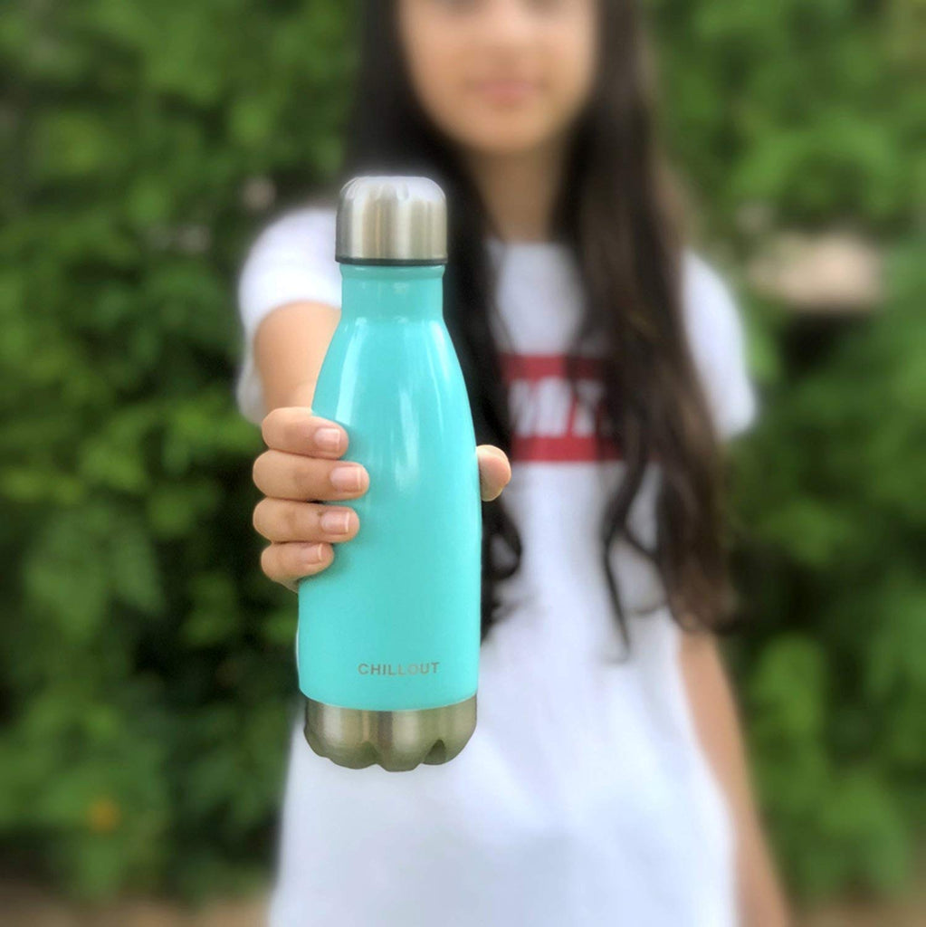 CHILLOUT LIFE Stainless Steel Water Bottle for Kids School: 12 oz Double Wall Insulated Cola Bottle Shape - Aqua Blue - CHILLOUT LIFE