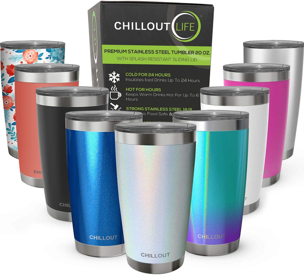 CHILLOUT LIFE 20 oz Stainless Steel Tumbler with Lid & Gift Box - Sparkle Holographic Tumbler - CHILLOUT LIFE