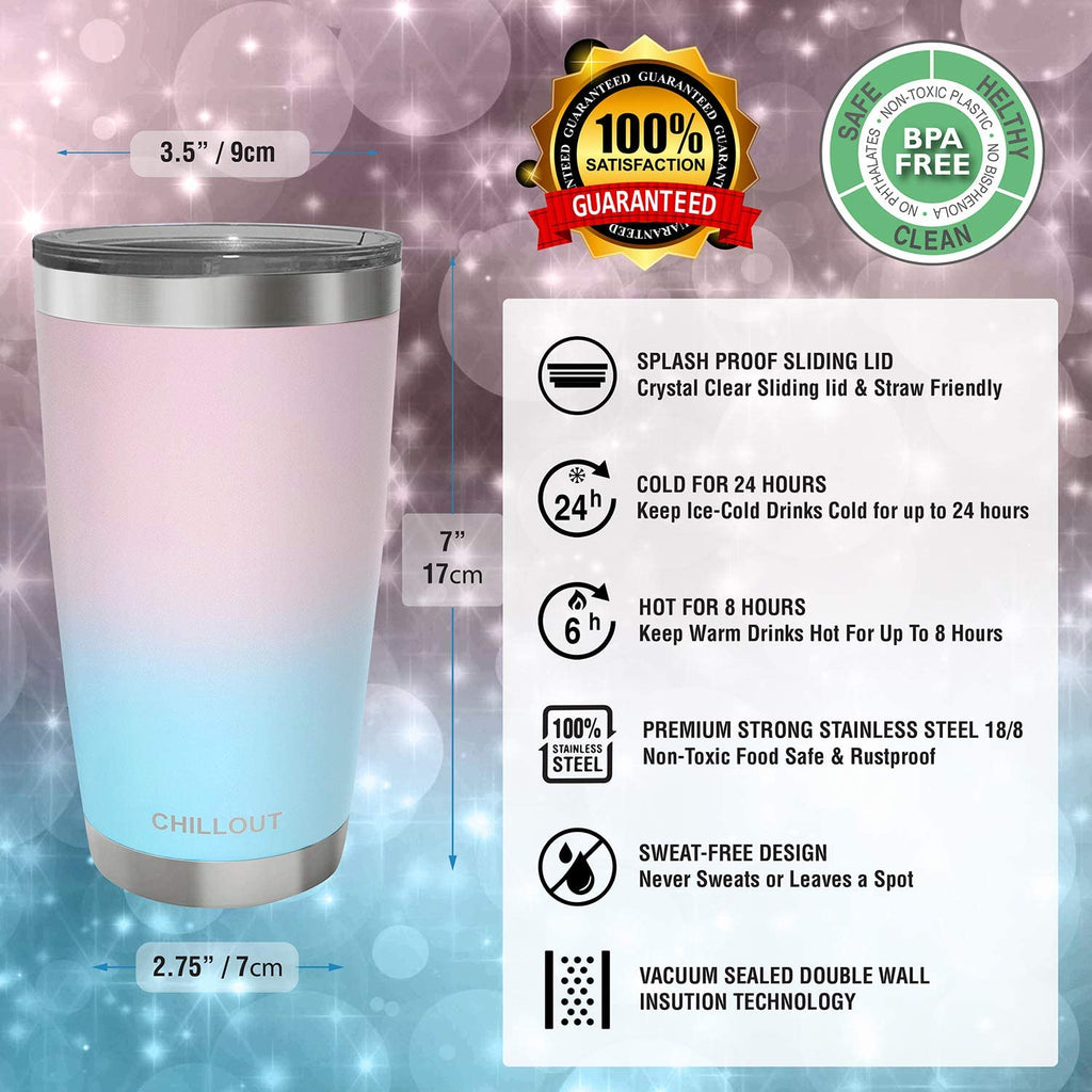 CHILLOUT LIFE 20 oz Stainless Steel Tumbler with Lid & Gift Box - Cotton Candy Tumbler - CHILLOUT LIFE