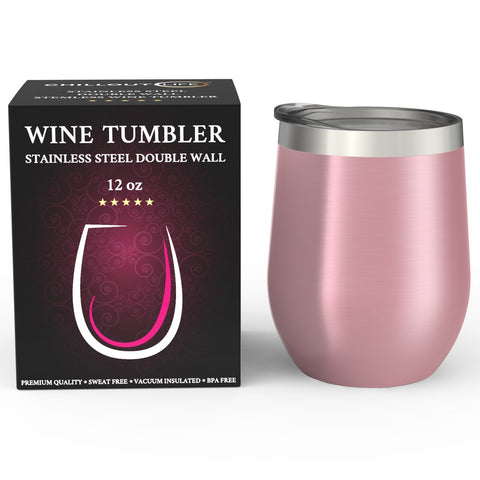 CHILLOUT LIFE 12 oz Stainless Steel Wine Tumbler for Coffee, Wine, Cocktails, Ice Cream, Rose Gold Wine Tumbler - CHILLOUT LIFE