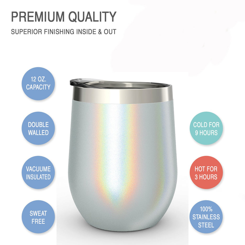 CHILLOUT LIFE 12 oz Stainless Steel Wine Tumbler 2 Pack for Coffee, Wine, Cocktails, Ice Cream, Sparkle Holographic Wine Tumblers
