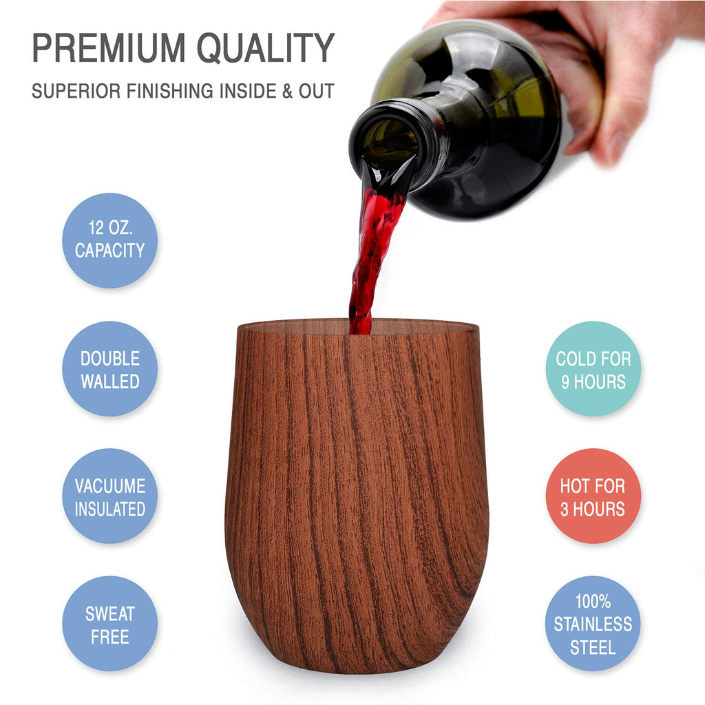 CHILLOUT LIFE 12 oz Stainless Steel Wine Tumbler 2 Pack for Coffee, Wine, Cocktails, Ice Cream, Wooden Pattern Wine Tumblers - CHILLOUT LIFE