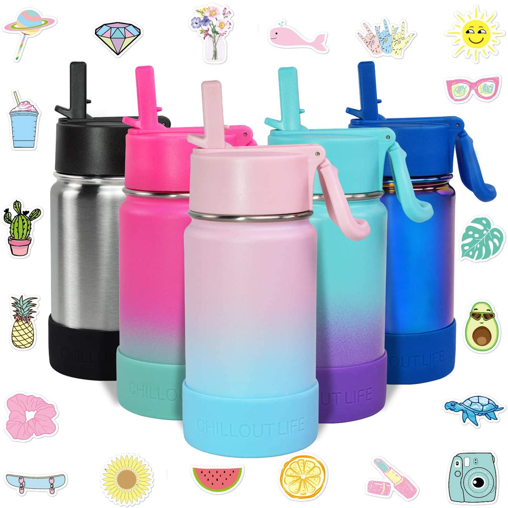 CHILLOUT LIFE 12 oz Insulated Water Bottle with Straw Lid for Kids + 20 Cute Waterproof Stickers - Cotton Candy - CHILLOUT LIFE