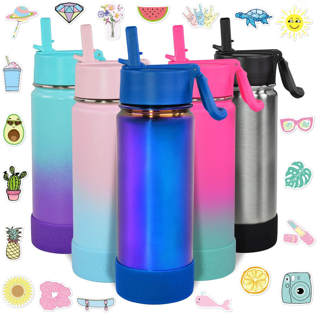 CHILLOUT LIFE 17 oz Insulated Water Bottle with Straw Lid for Kids + 20 Cute Waterproof Stickers - Magic Blue - CHILLOUT LIFE