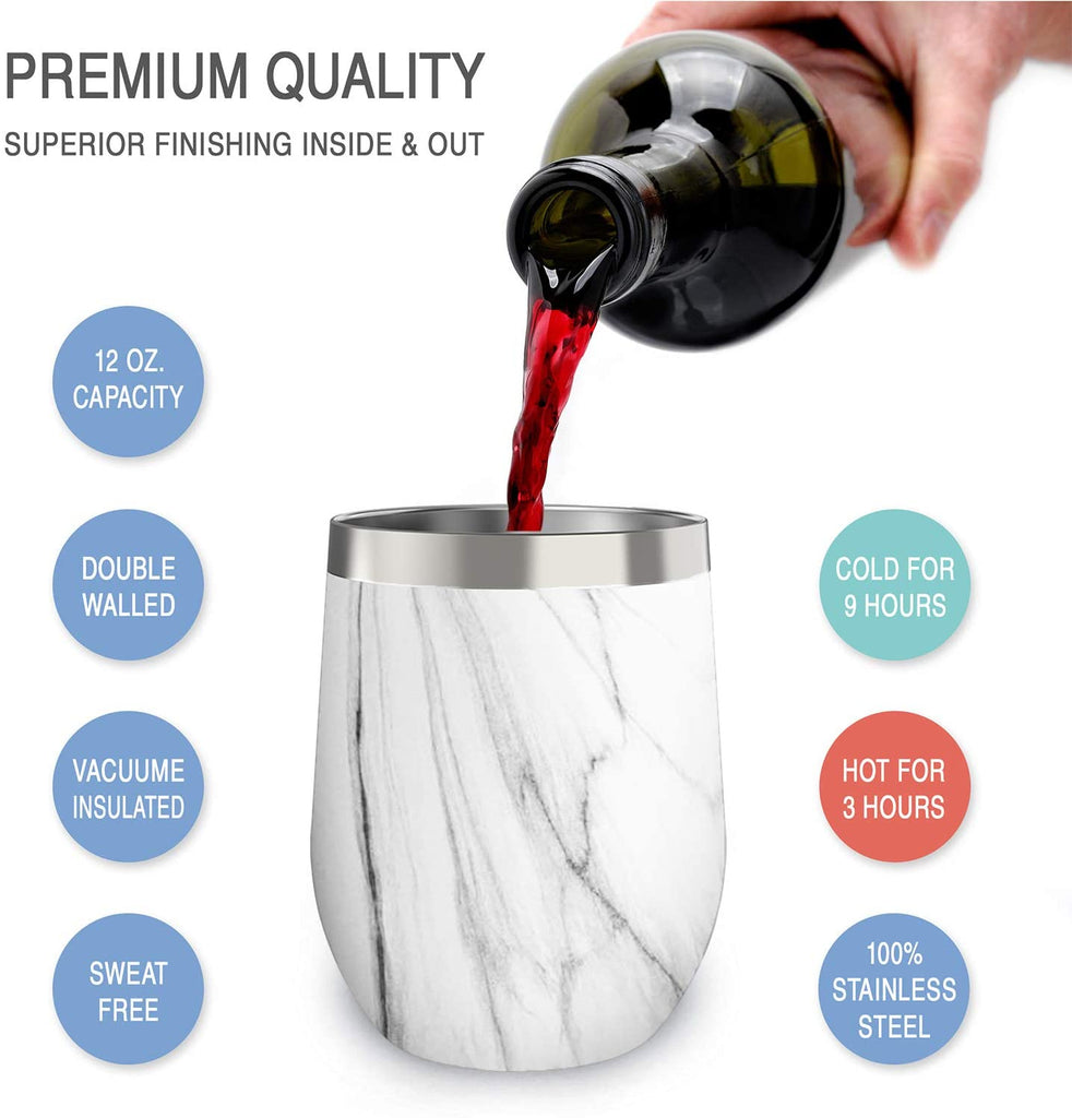 CHILLOUT LIFE 12 oz Stainless Steel Stemless Wine Tumbler with Lids and Straw 4 Pack - Carrara Marble - CHILLOUT LIFE