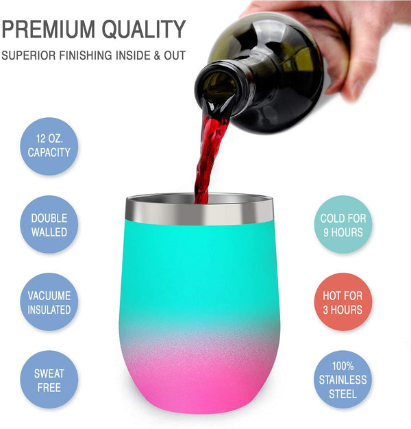 CHILLOUT LIFE 12 oz Stainless Steel Wine Tumbler for Coffee, Wine, Cocktails, Ice Cream, Frozen Slushy Wine Tumbler - CHILLOUT LIFE
