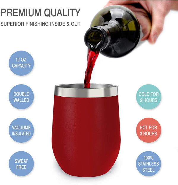 CHILLOUT LIFE 12 oz Stainless Steel Wine Tumbler for Coffee, Wine, Cocktails, Ice Cream, Cherry Red Wine Tumbler - CHILLOUT LIFE