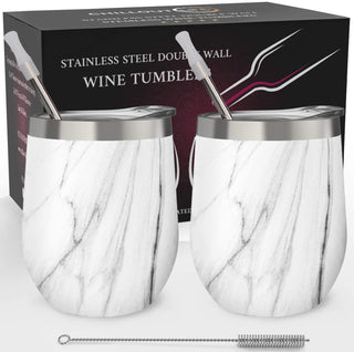 CHILLOUT LIFE 12 oz Stainless Steel Wine Tumbler 2 Pack for Coffee, Wine, Cocktails, Ice Cream, Carrara Marble  Wine Tumblers - CHILLOUT LIFE