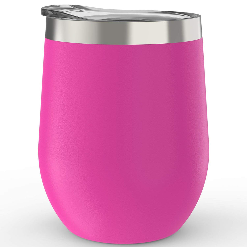 CHILLOUT LIFE 12 oz Stainless Steel Wine Tumbler for Coffee, Wine, Cocktails, Ice Cream, Hot Pink Wine Tumbler