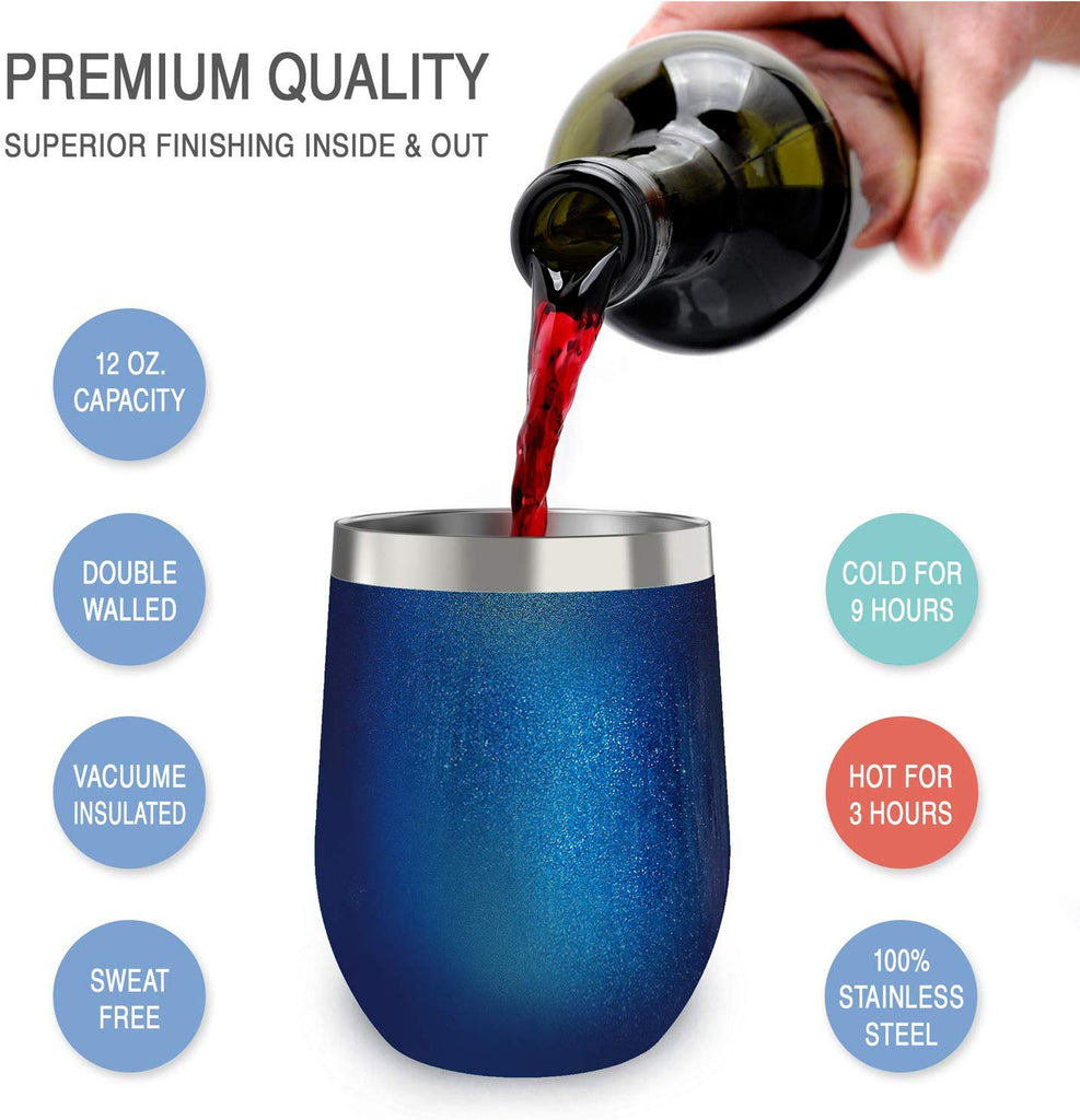 CHILLOUT LIFE 12 oz Stainless Steel Stemless Wine Tumbler with Lids and Straw 4 Pack - Sparkle Blue - CHILLOUT LIFE