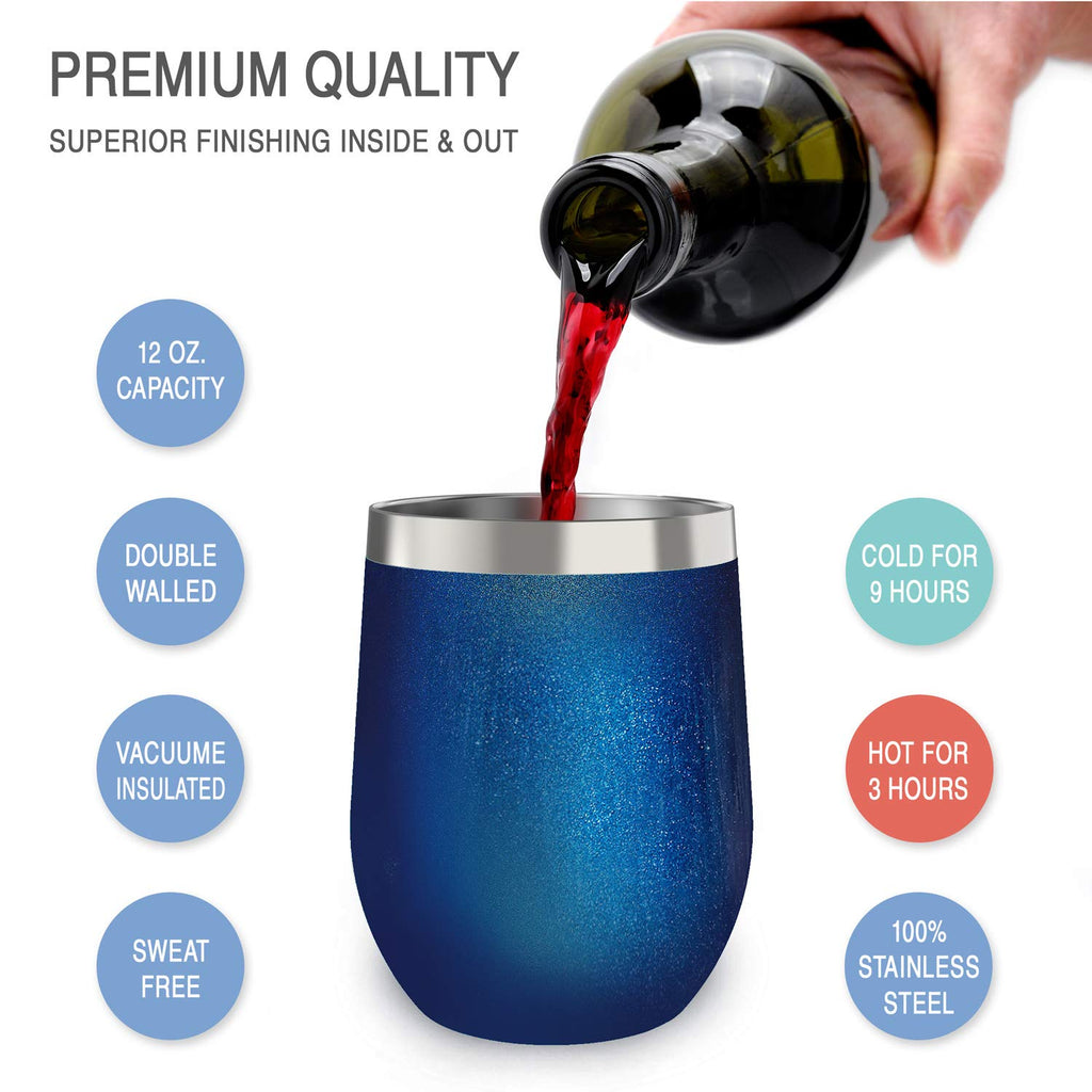 CHILLOUT LIFE 12 oz Stainless Steel Wine Tumbler 2 Pack for Coffee, Wine, Cocktails, Ice Cream, Blue Sparkle Wine Tumblers - CHILLOUT LIFE