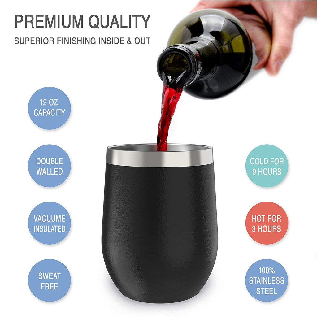 CHILLOUT LIFE 12 oz Stainless Steel Wine Tumbler 2 Pack for Coffee, Wine, Cocktails, Ice Cream, Black Wine Tumblers - CHILLOUT LIFE