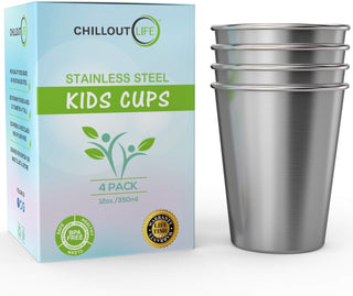 Stainless Steel Cups for Kids and Adult 12 oz (4-Pack) - CHILLOUT LIFE