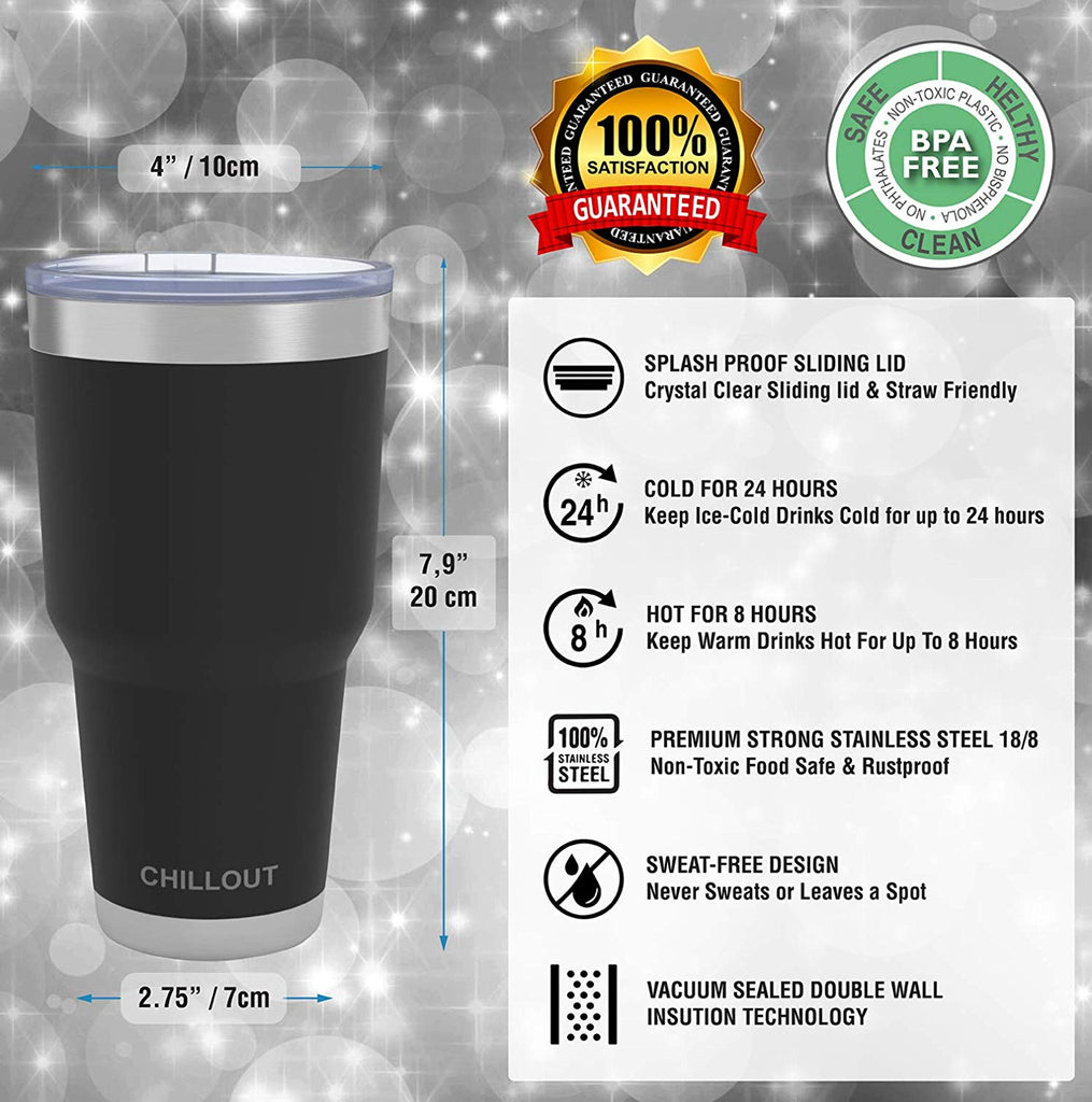 Stainless Steel Travel Mug with Handle 30oz – 6 Piece Set. Tumbler with Handle, Straw, Cleaning Brush & 2 Lids - Black Powder Coated Tumbler - CHILLOUT LIFE