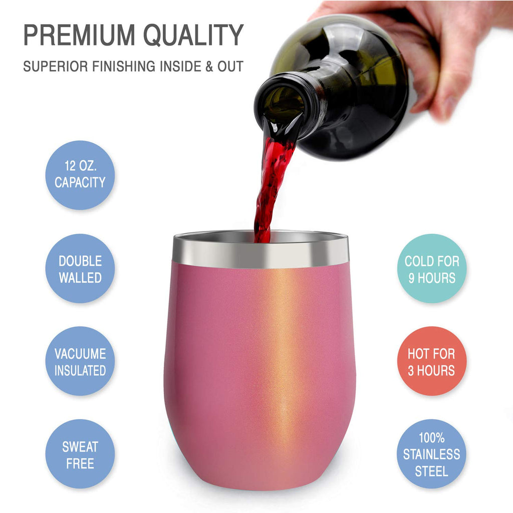 CHILLOUT LIFE 12 oz Stainless Steel Wine Tumbler 2 Pack for Coffee, Wine, Cocktails, Ice Cream, Pink Sparkle Wine Tumblers