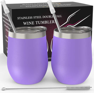 CHILLOUT LIFE 12 oz Stainless Steel Wine Tumbler 2 Pack for Coffee, Wine, Cocktails, Ice Cream, Purple Wine Tumblers - CHILLOUT LIFE
