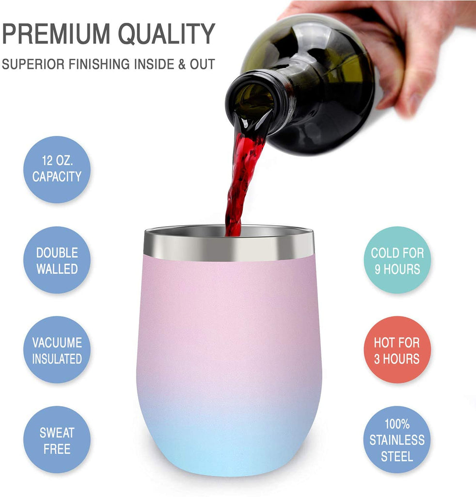 CHILLOUT LIFE 12 oz Stainless Steel Wine Tumbler for Coffee, Wine, Cocktails, Ice Cream, Cotton Candy Wine Tumbler - CHILLOUT LIFE