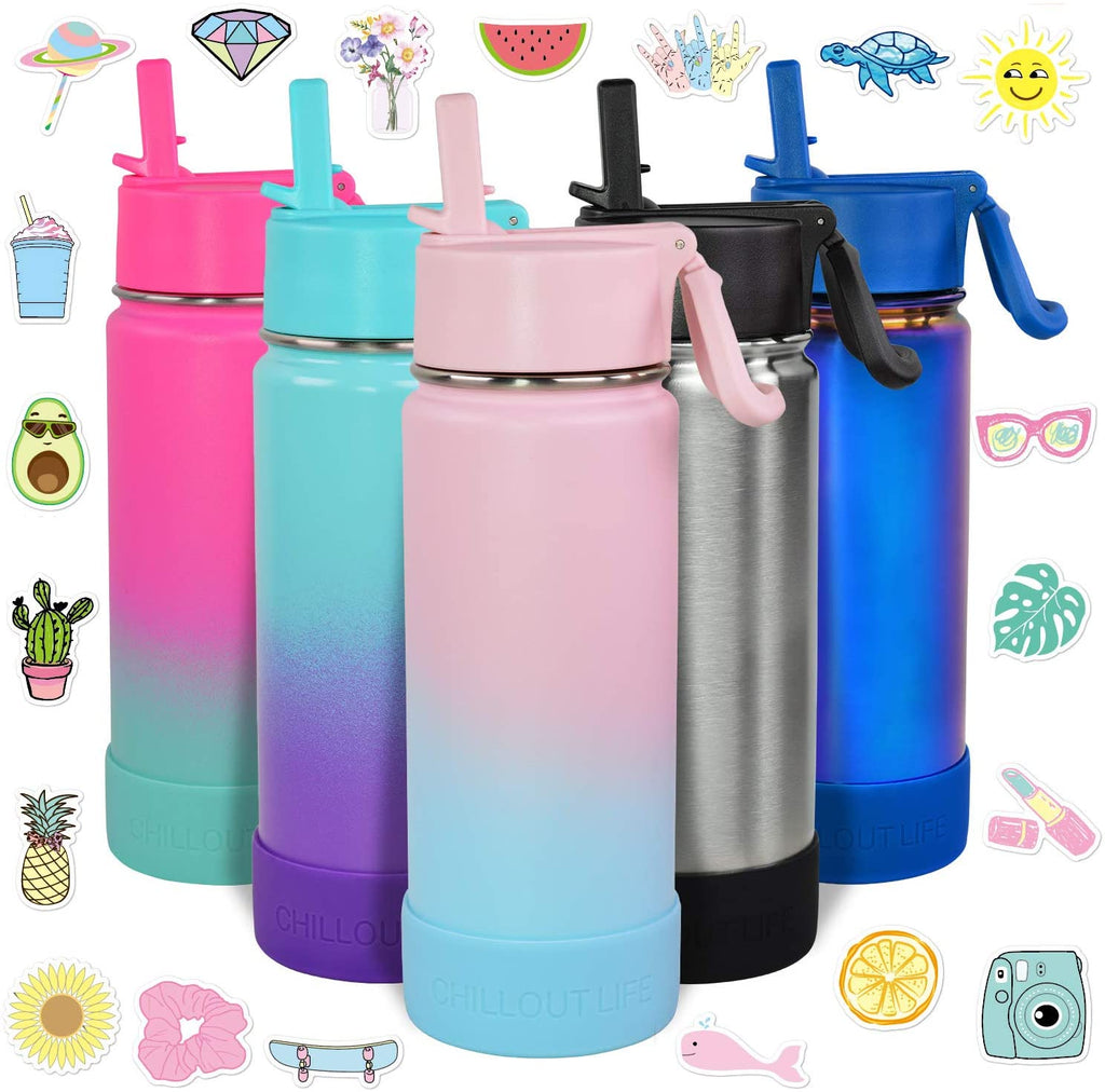 CHILLOUT LIFE 17 oz Insulated Water Bottle with Straw Lid for Kids + 20 Cute Waterproof Stickers - Cotton Candy - CHILLOUT LIFE