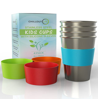Stainless Steel Cups for Kids and Toddlers 8 oz with Silicone Sleeves (4-Pack) - CHILLOUT LIFE