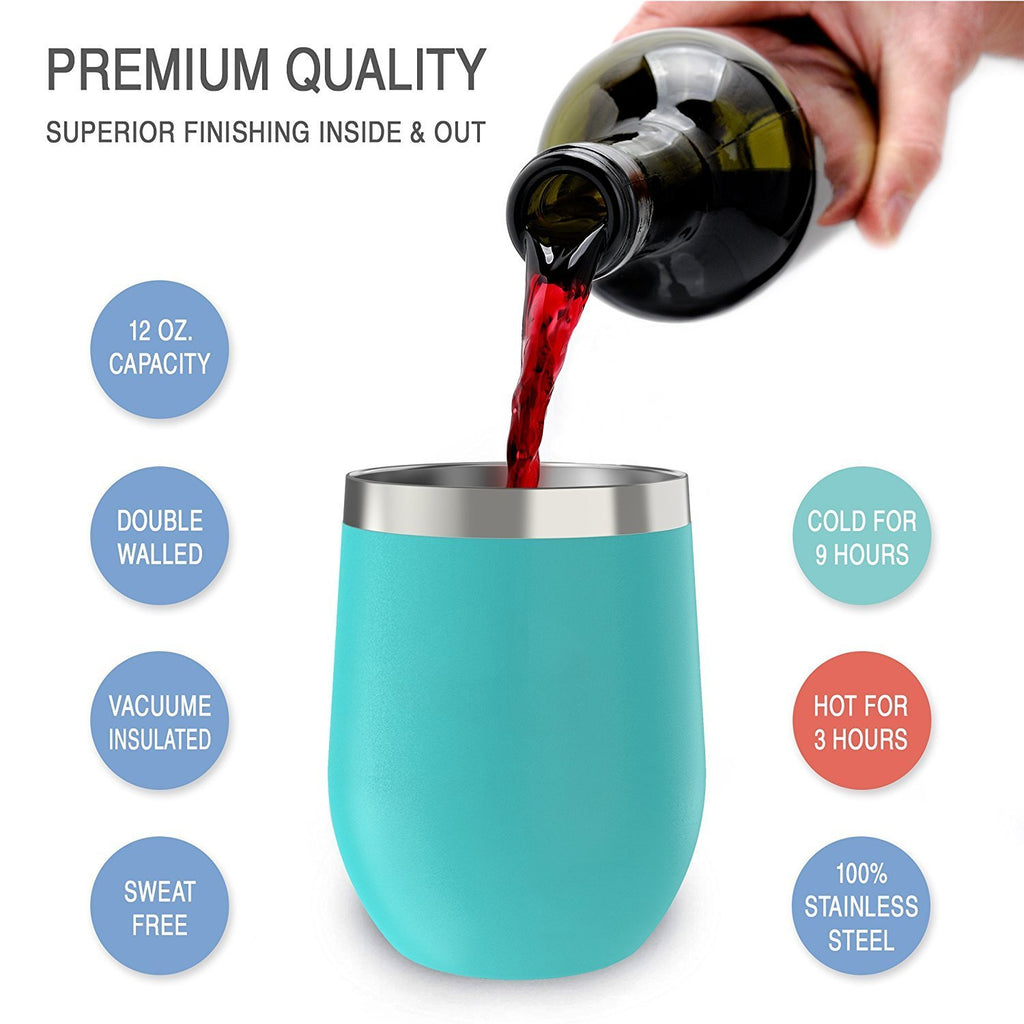 CHILLOUT LIFE 12 oz Stainless Steel Wine Tumbler 2 Pack for Coffee, Wine, Cocktails, Ice Cream, Teal Wine Tumblers