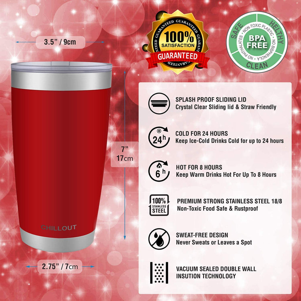 CHILLOUT LIFE 20 oz Stainless Steel Tumbler with Lid & Gift Box - Cherry Red Tumbler - CHILLOUT LIFE