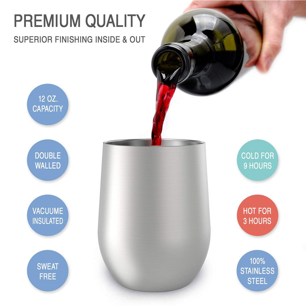 CHILLOUT LIFE 12 oz Stainless Steel Wine Tumbler 2 Pack for Coffee, Wine, Cocktails, Ice Cream, Silver Wine Tumblers