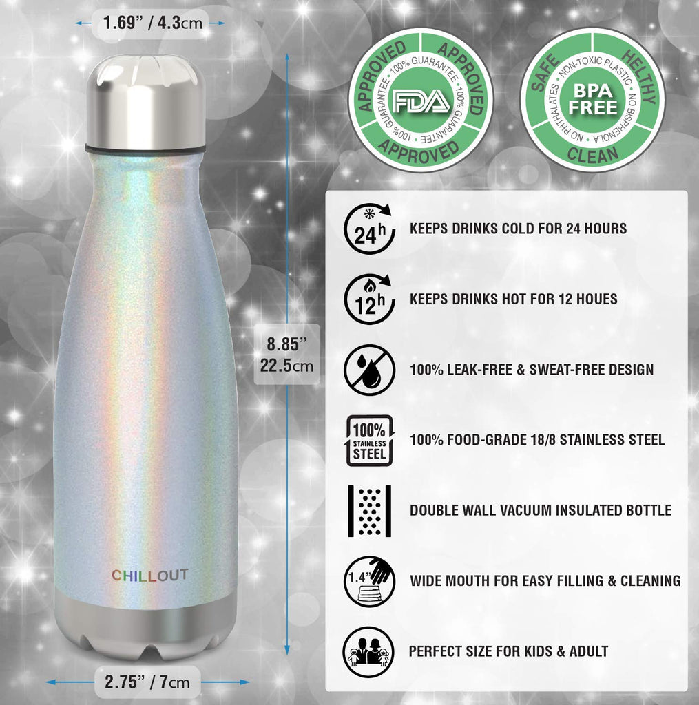 2 Pack Stainless Steel Water Bottle for Kids School: 12 oz Double Wall Insulated Cola Bottle Shape - Sparkle Holographic - CHILLOUT LIFE