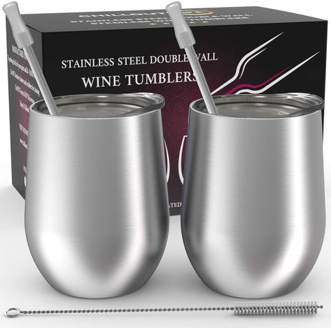 CHILLOUT LIFE 12 oz Stainless Steel Wine Tumbler 2 Pack for Coffee, Wine, Cocktails, Ice Cream, Silver Wine Tumblers - CHILLOUT LIFE